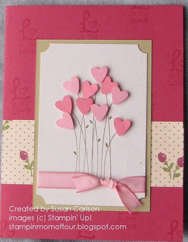 pink hearts bouquet card - Valentine Day Cards For Kids
