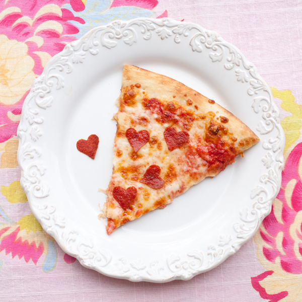 pizza with heart shaped pepperoni | 25+ Heart Shaped Food Ideas