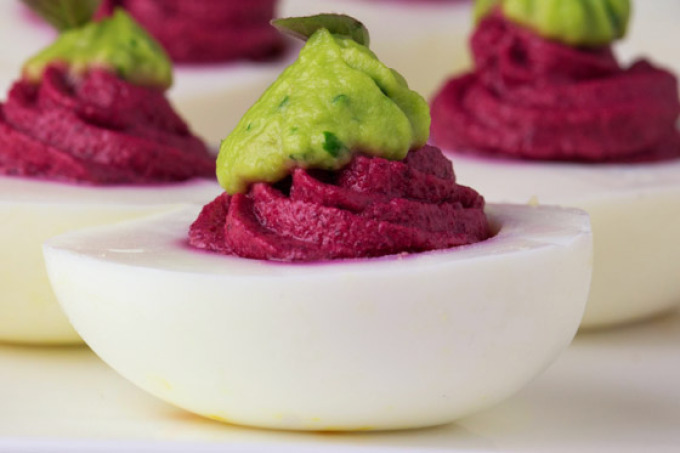 Beet and Avocado Deviled Eggs | 25+ Deviled Egg Recipes
