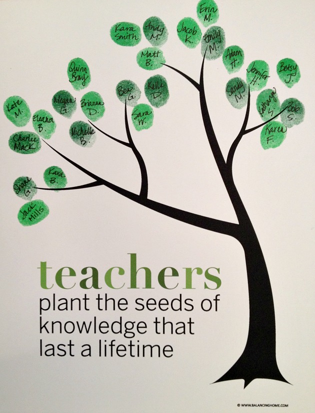 Classroom Fingerprint Tree | 25+ teacher appreciation week ideas