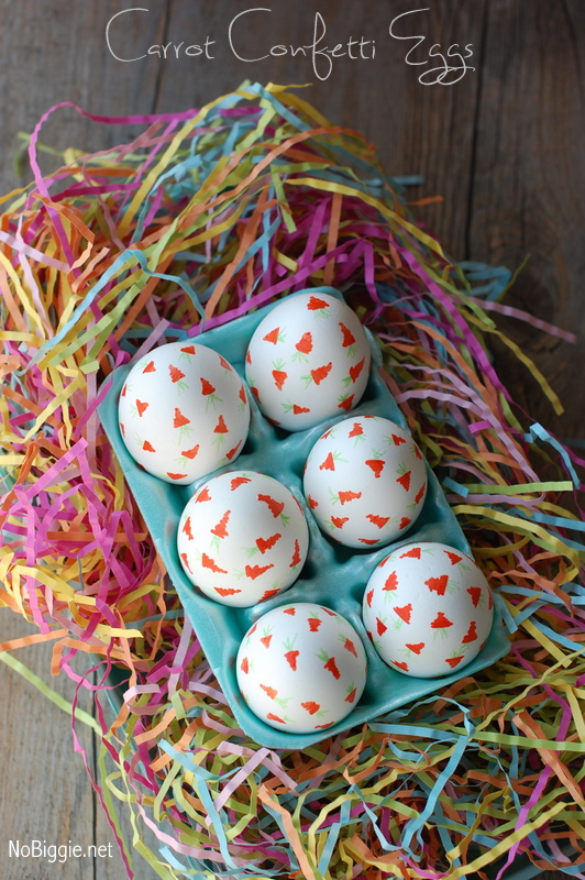 Carrot Confetti Eggs for Easter | 25+ ways to decorate Easter Eggs