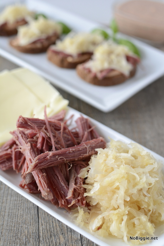 Corned beef for mini open-faced reuben sandwiches | these are so good! | NoBiggie.net.jpg
