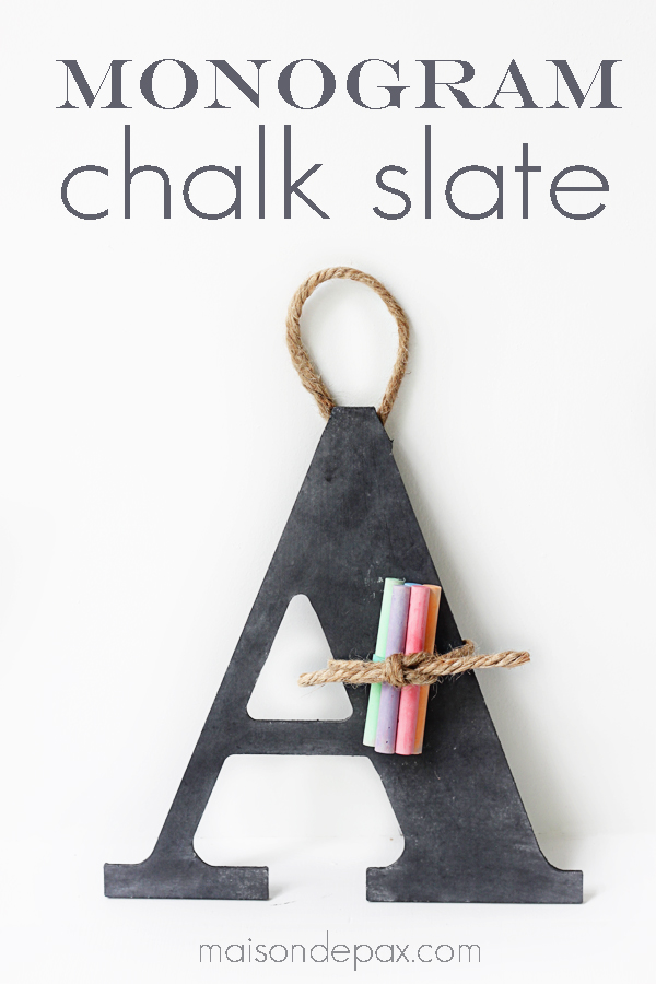 DIY Monogram Chalk Slate | 25+ teacher appreciation week ideas