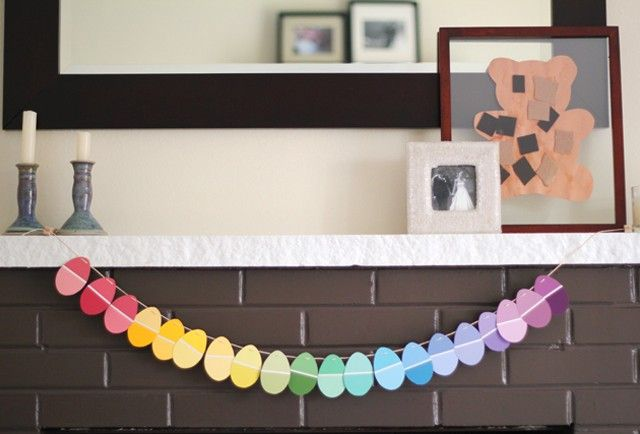 DIY Paint Chip Easter Garland | 25+ Easter and Spring Decorations