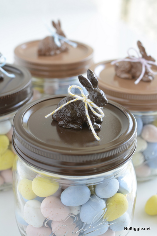 Dark chocolate and milk chocolate Easter Bunny Jars | NoBiggie.net