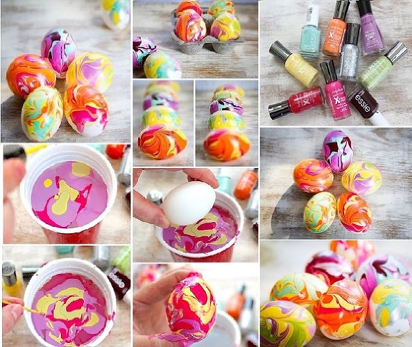 Decorated with Nail Polish | 25+ ways to decorate Easter Eggs