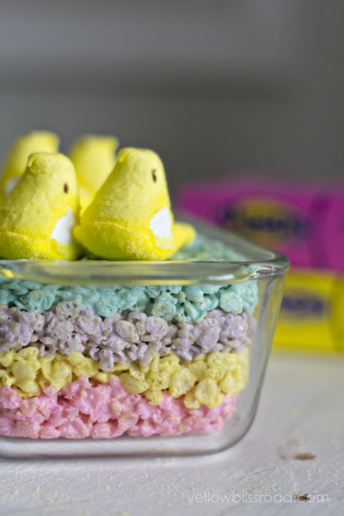Layered Peeps Rice Krispie Treats | 25+ Easter sweet treats