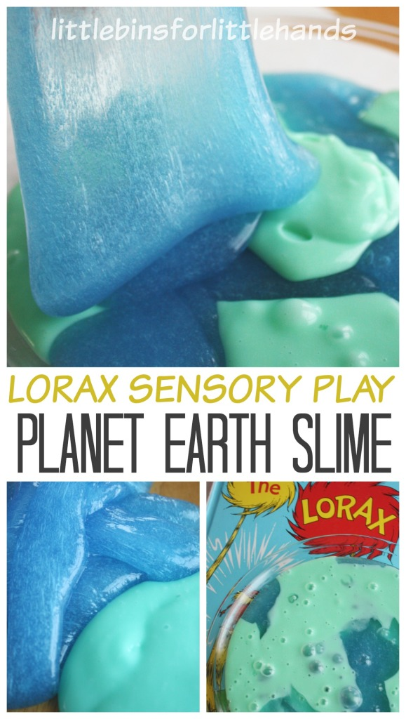 Lorax Sensory Play Planet Earth Slime | 25+ ways to celebrate Earth Day