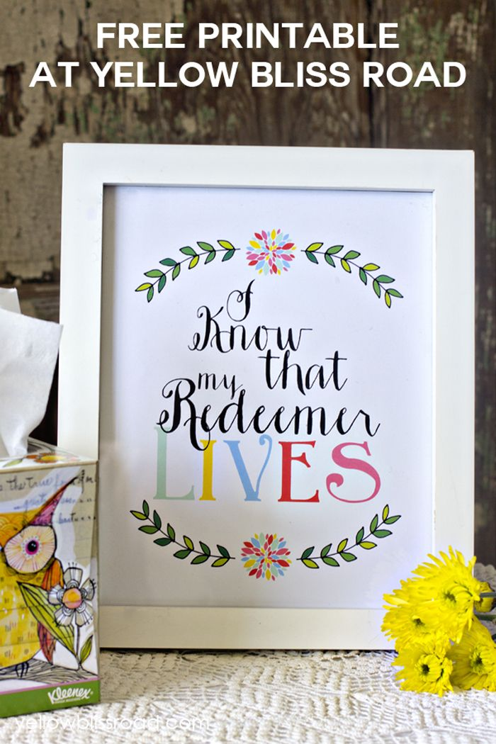 My Redeemer Lives Free Printable | 25+ Easter and Spring Decorations