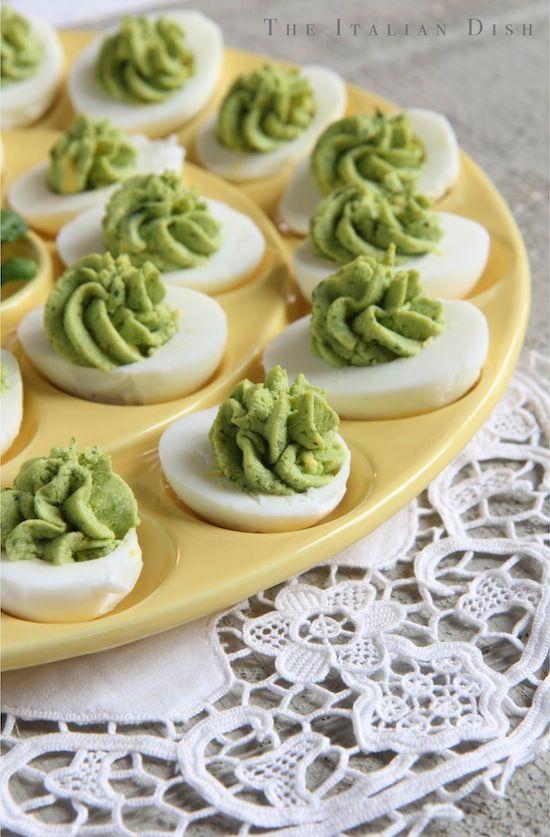 Pesto Stuffed Eggs  25+ Deviled Egg Recipes