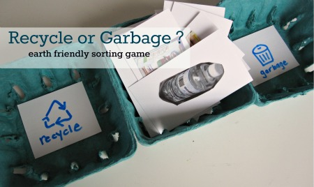 Recycling or Garbage earth friendly sorting game | 25+ ways to celebrate Earth Day