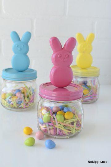 DIY peeps bunny candy jars