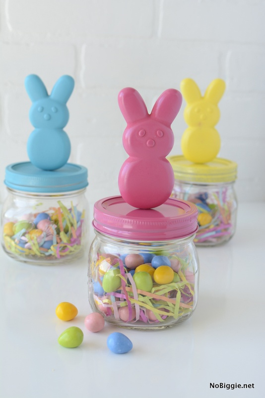 super inexpensive DIY peeps bunny jars | NoBiggie.net