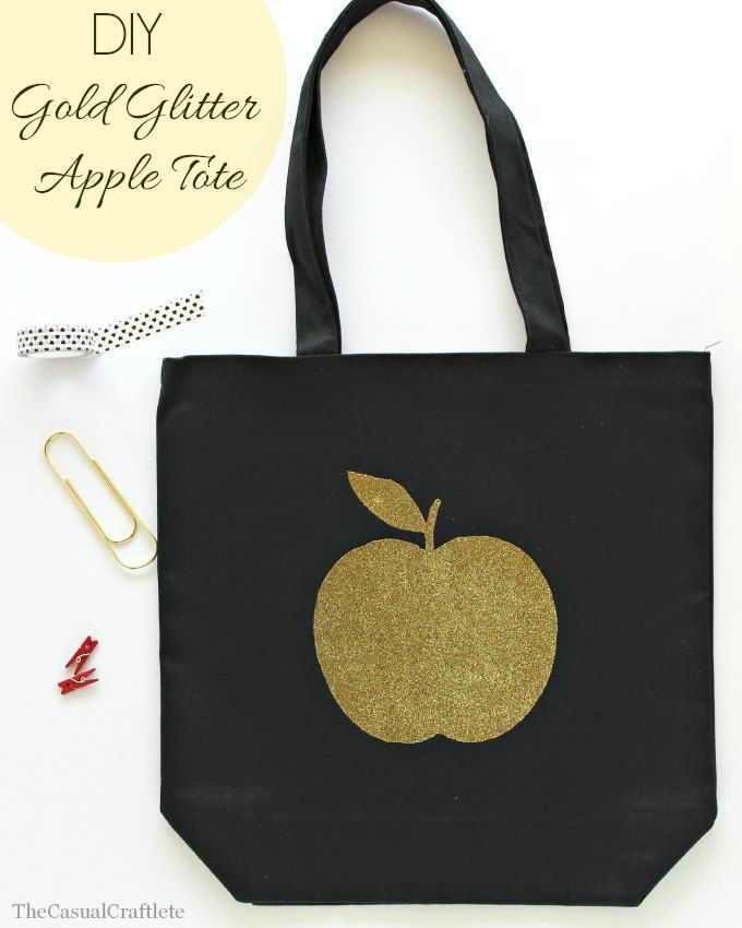 DIY Gold Glitter Apple Tote | 25+ MORE Teacher Appreciation Week ideas