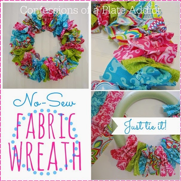 Easy no sew fabric wreath | 25+ May Day ideas