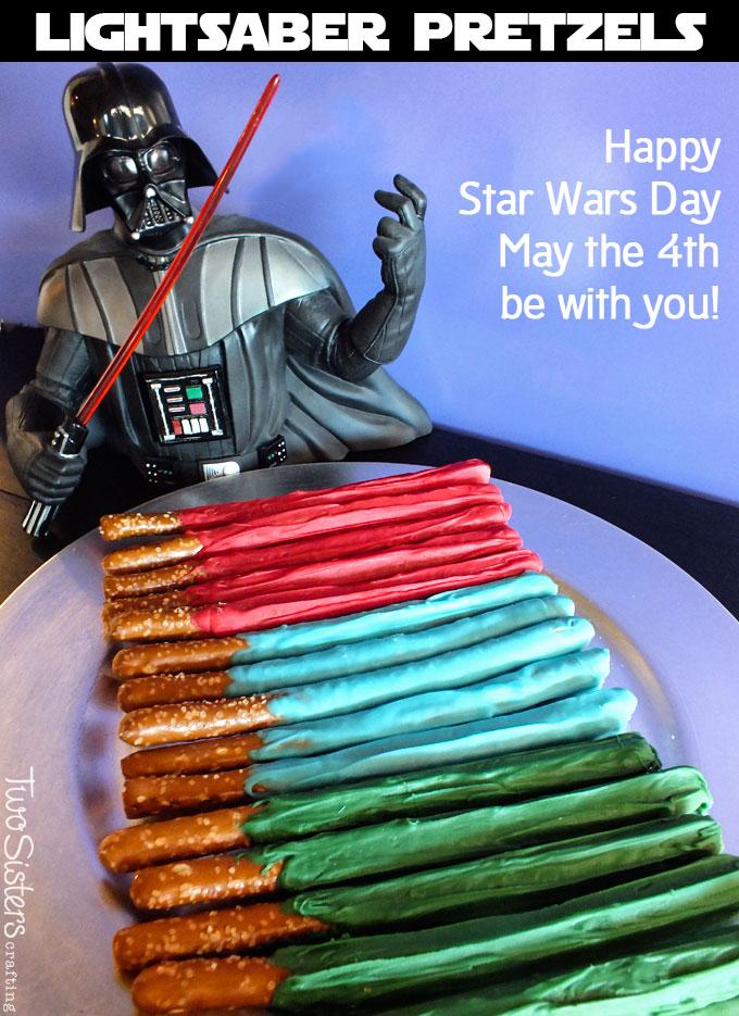 Star Wars Lightsaber Pretzels | 25+ ways to celebrate Star Wars Day