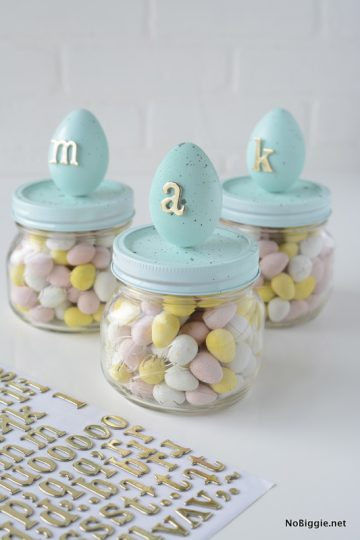 DIY speckled egg candy jars