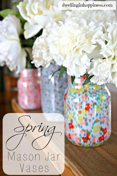Spring mason jar vases | 25+ May Day ideas