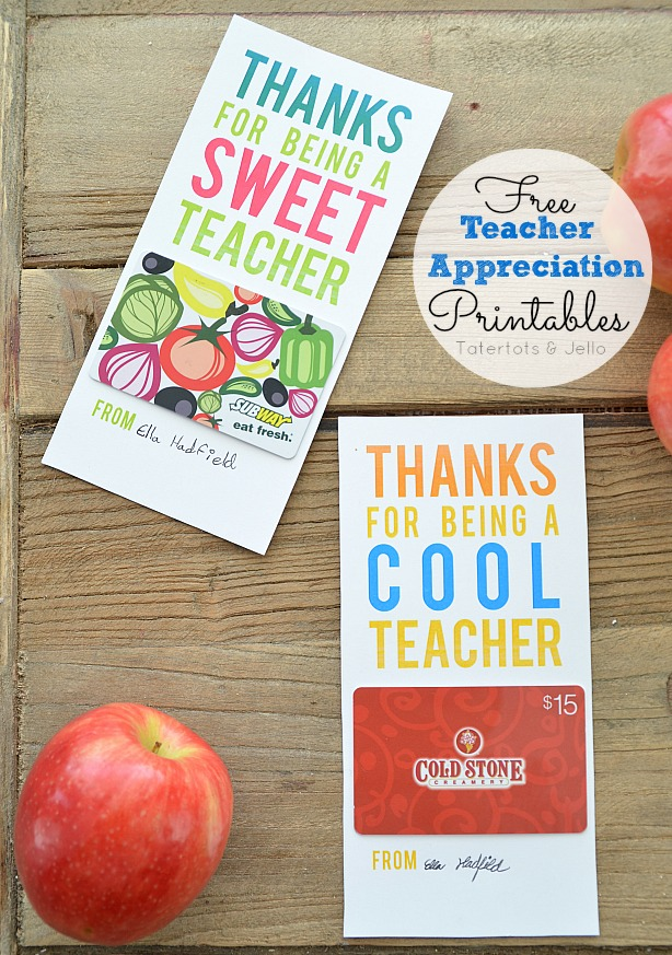 Free Teacher Appreciation Gift Card Holders | 25+ MORE Teacher Appreciation Week ideas