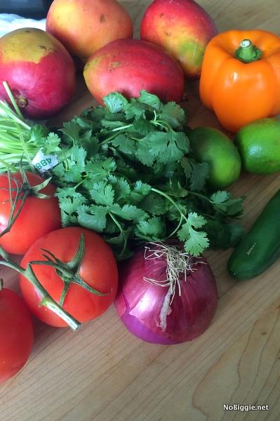 fresh fruit and veggies for Mango Salsa