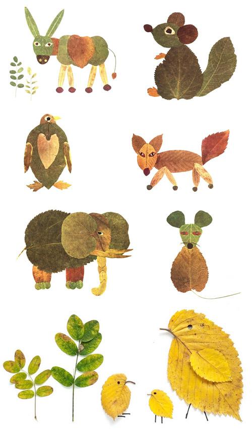 make leaf animals   25+ Earth Day ideas