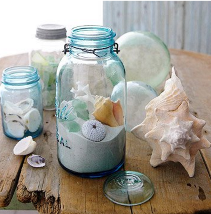 sea shells and sand Mason Jar | 25+ Earth Day ideas