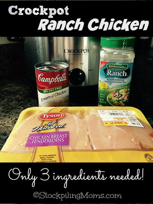 Crockpot Ranch Chicken | 25+ Three Ingredient Recipes