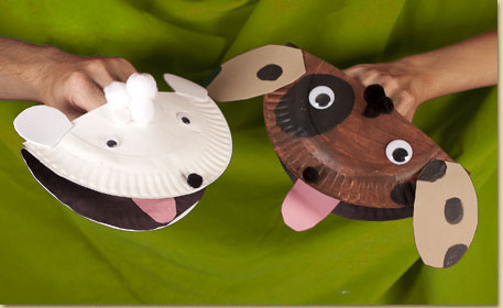 Paper plate puppy puppet | 25+ Paper Plate Crafts