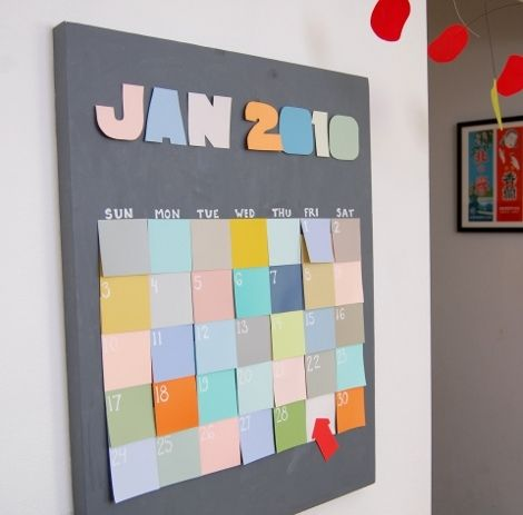 Post It Calendar | 25+ Post It Note DIY Ideas