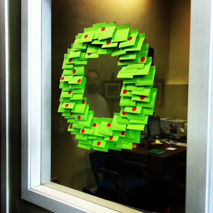 Post it Note Christmas Wreath | 25+ creative post it note ideas