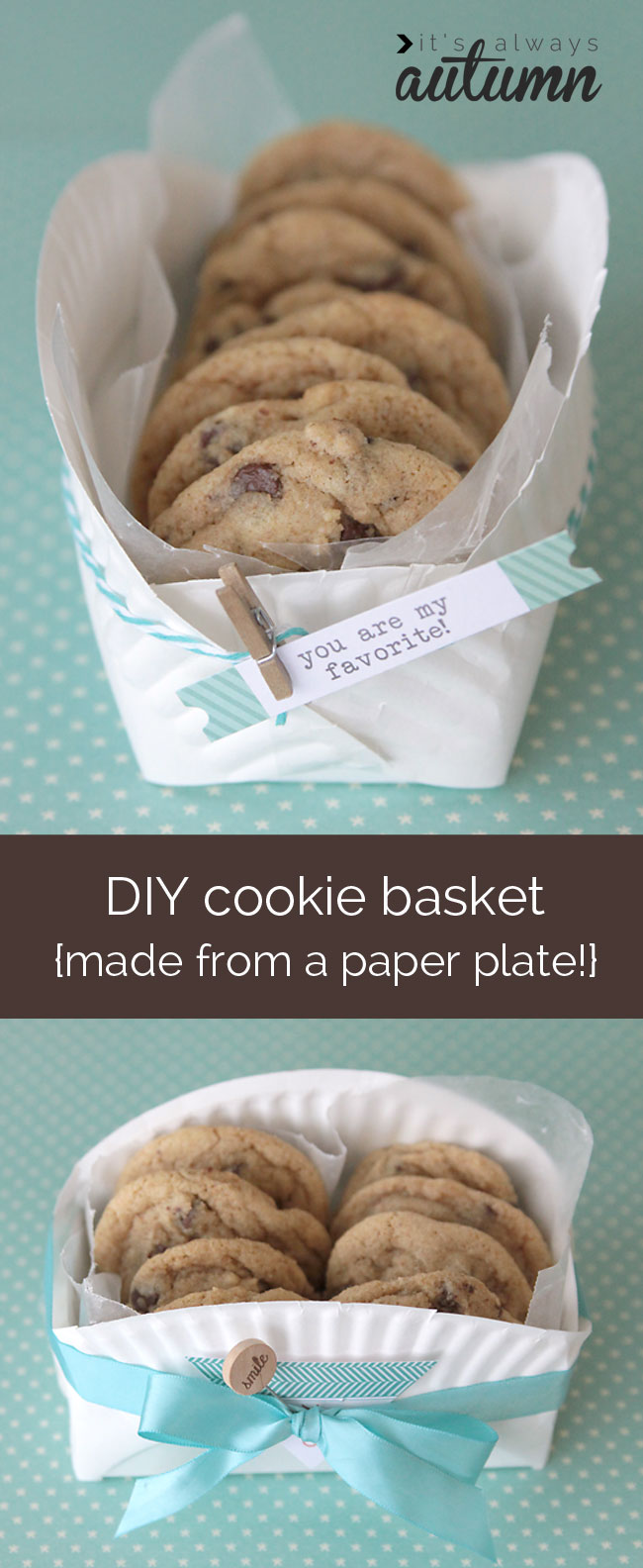 easy DIY cookie basket made from a paper plate | 25+ Paper Plate Crafts