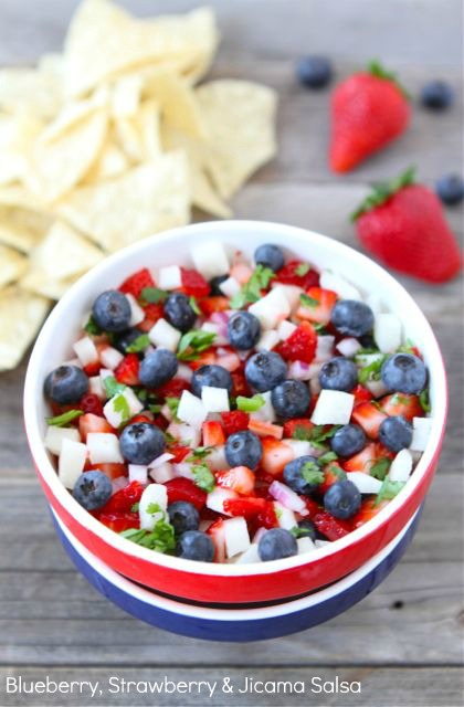 Blueberry, Strawberry and Jicama Salsa | 25+ 4th of July Party Ideas