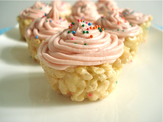 Cake Batter Rice Krispie Treat Cupcakes | 25+ Rice Krispie Treat Ideas