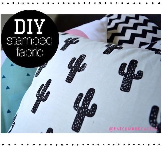 DIY Cactus Stamped Fabric | 25+ Cactus crafts and DIY