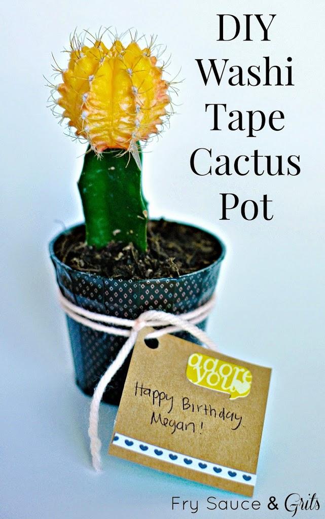 DIY Washi Tape Cactus Pot | 25+ Cactus crafts and DIY