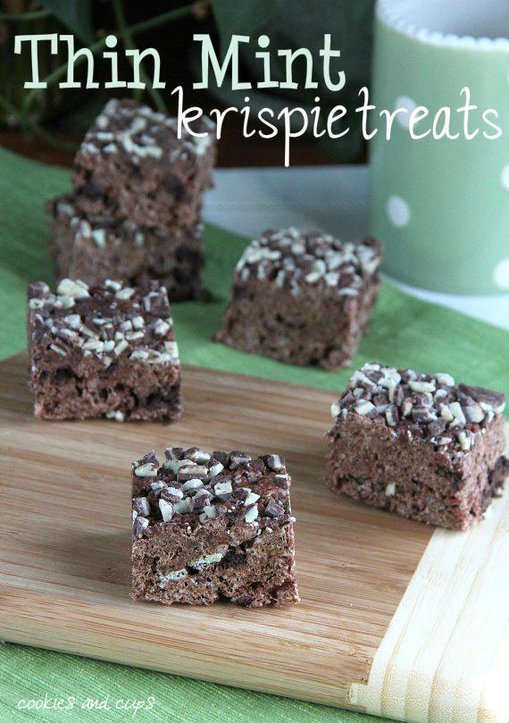 Thin Mint Krispie Treats | 25+ Rice Krispie Treat Ideas