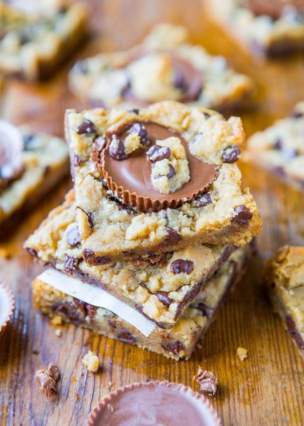 Two Ingredient Peanut Butter Cup Chocolate Chip Cookie Dough Bars | 25+ Two Ingredient Recipes