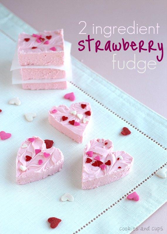 Two Ingredient Strawberry Fudge | 25+ Two Ingredient Recipes