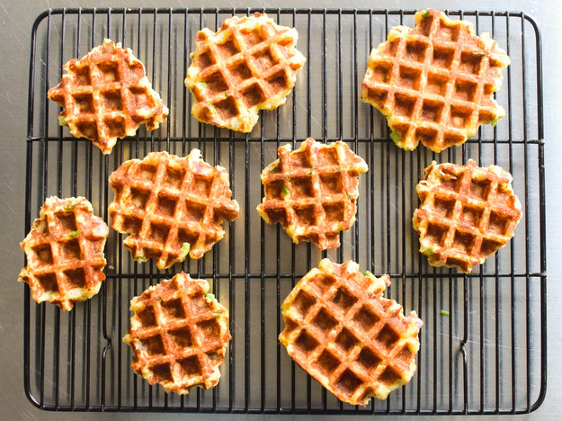 Waffled Mashed Potatoes with bacon, scallion, and cheddar | 25+ Waffle Recipes