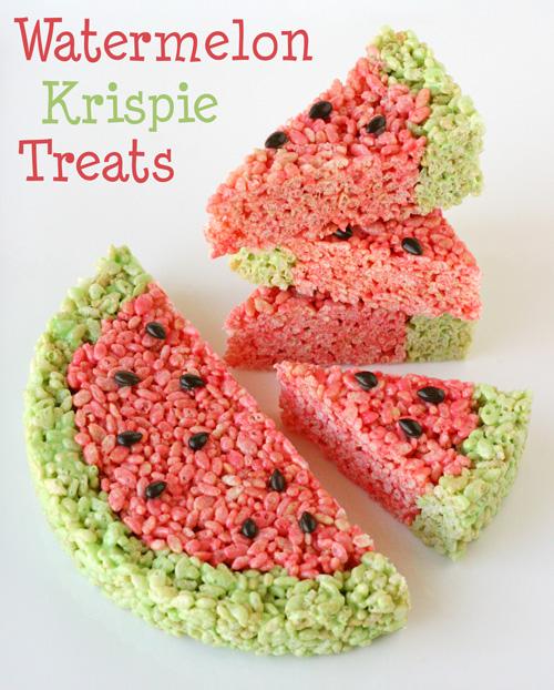 Watermelon Krispie Treats | 25+ Rice Krispie Treat Ideas