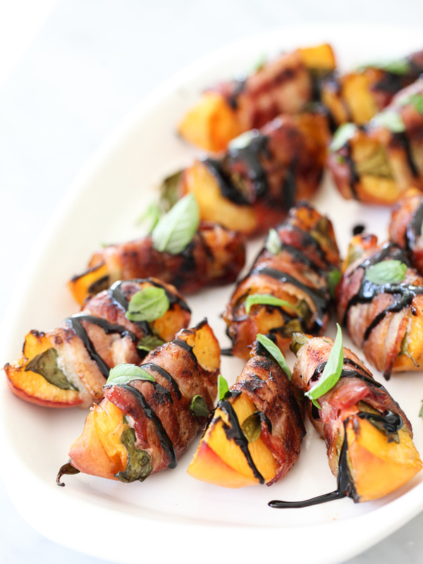 Bacon Wrapped Grilled Peaches with Balsamic Glaze | 25+ recipes starring bacon