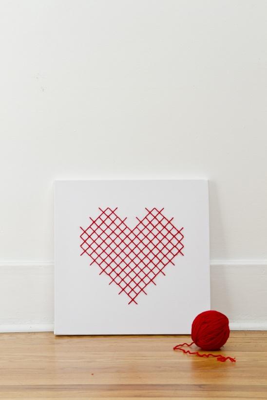Cross Stitch Heart Canvas | 25+ Cross-Stitch Style Craft Ideas