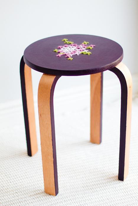 Cross Stitch Stool | 25+ Cross-Stitch Style Craft Ideas