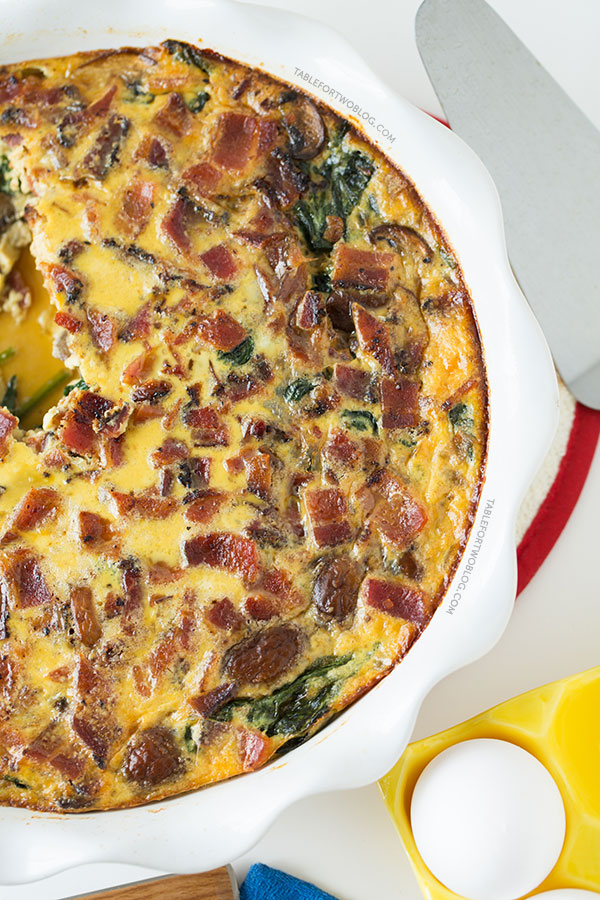 Crustless Bacon, Spinach, and Mushroom Quiche | 25+ recipes starring bacon