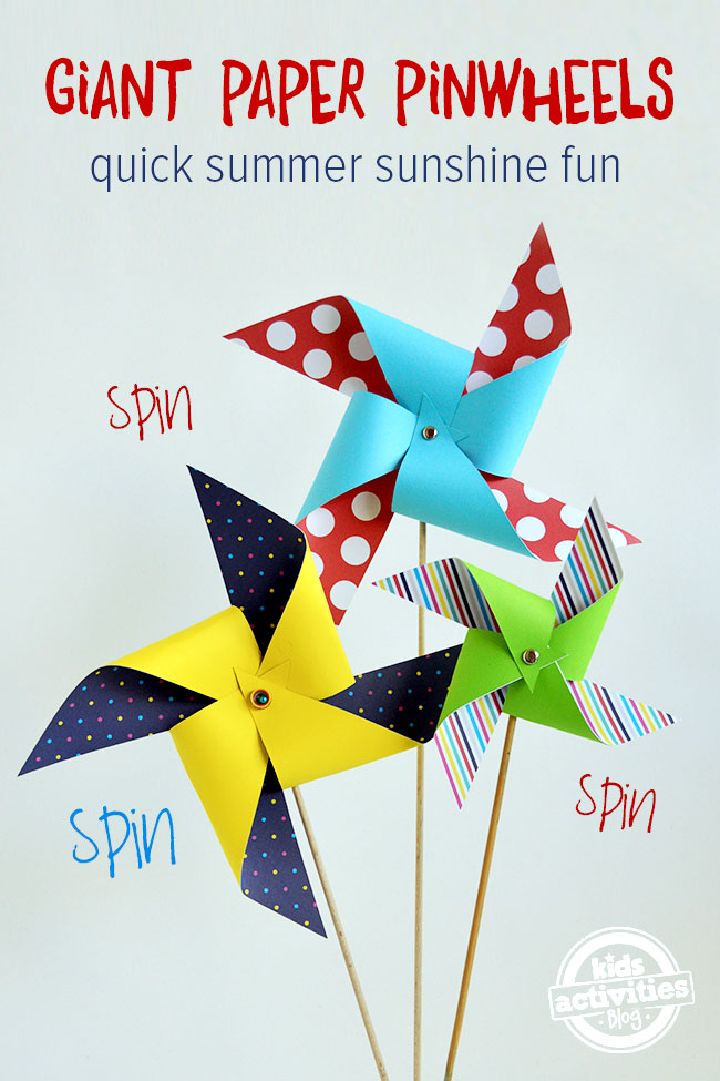 Giant Paper Pinwheels | 25+ Summer Crafts for Kids
