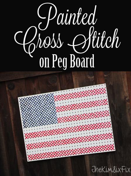 Painted Cross Stitch Pegboard Flag | 25+ Cross-Stitch Style Craft Ideas