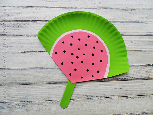 Paper Plate Watermelon Fan | 25+ Summer Crafts for Kids