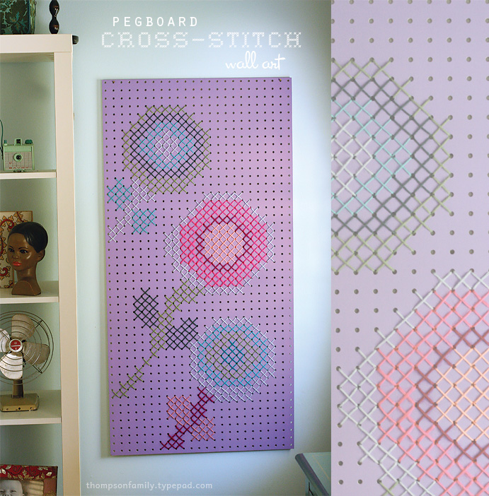 25 cross stitch style craft ideas nobiggie for Cross stitch wall mural