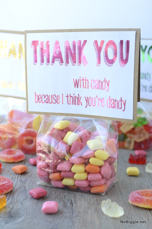 free printable thank you note with candy | NoBiggie.net