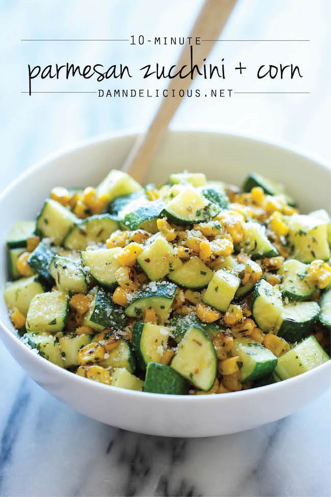 10 minute parmesan zucchini + corn | 25+ zucchini recipes